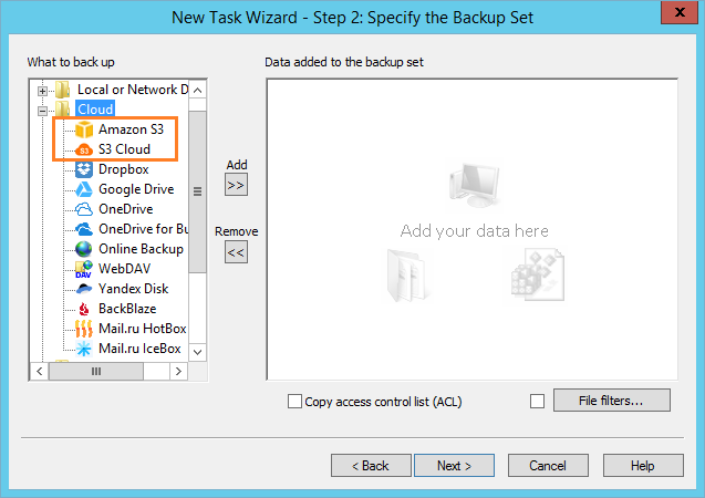 Specify backup set Amazon S3