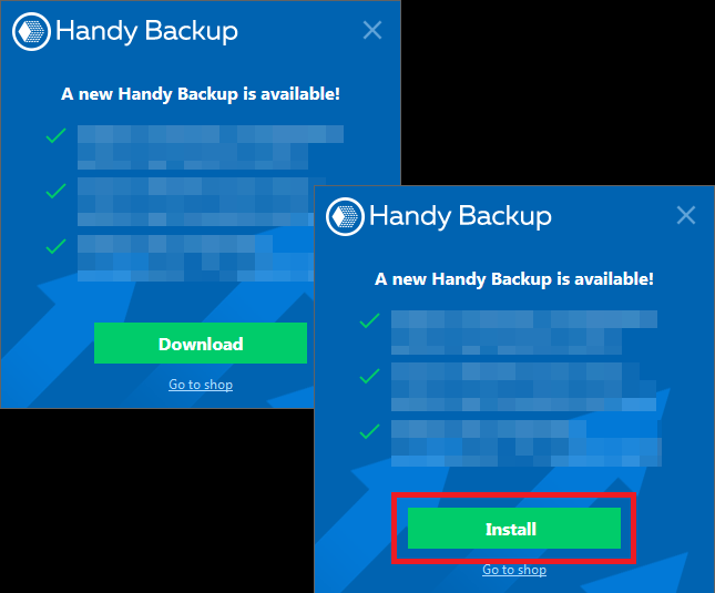 Autoupdate program Handy Backup 8