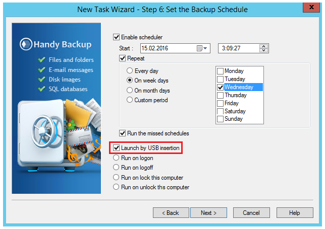 Starting backup when USB drive plugged