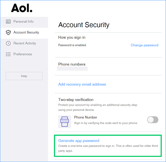 AOL settings on the website