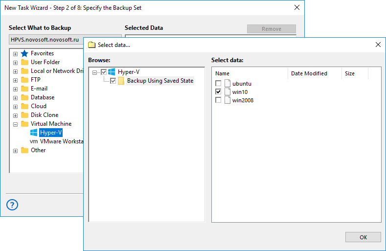 Hyper-V Backup with Handy Backup