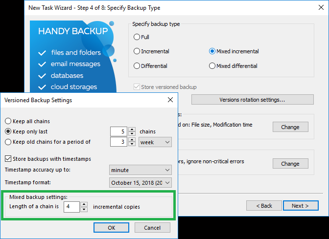 Mixed incremental backup settings