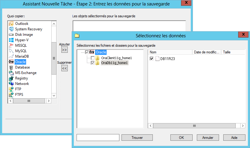 Sauvegarde d'Oracle avec Handy Backup