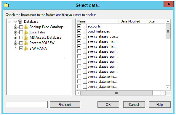 Select SAP HANA DB Backup