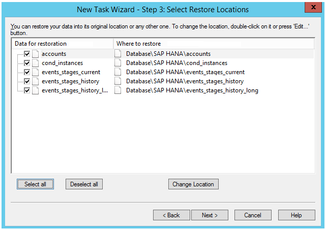 Select Restore Locations for SAP HANA Backup