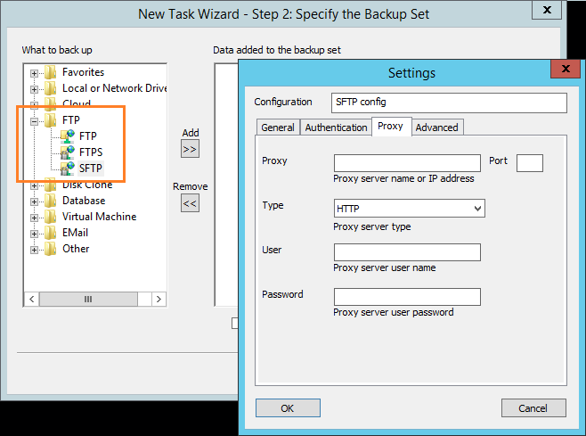 Select FTP server as backup destination