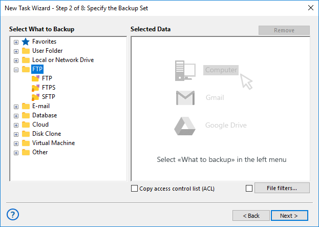 Open the SFTP plug-in dialog