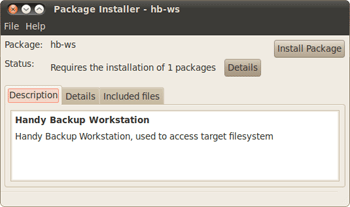 Installation of Ubuntu backup software