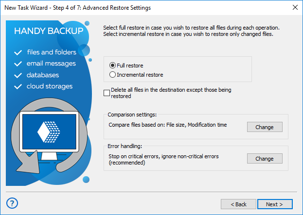 Selecting type of restore and advanced settings