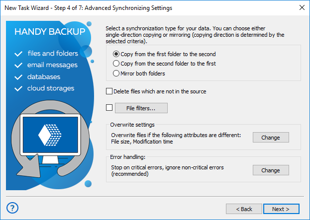 Selecting type of synchronization and advanced settings