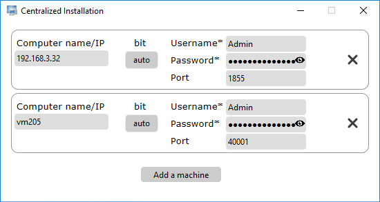 Type domains or names of machines and then usernames for installing the Network Agents