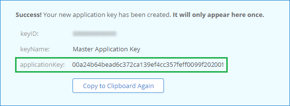 Generated key to create a connection to the Backblaze cloud in Handy Backup