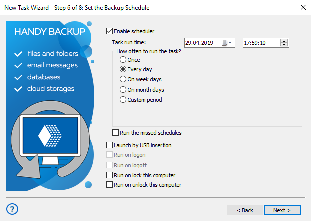 Schedule automatic backup with Handy Backup