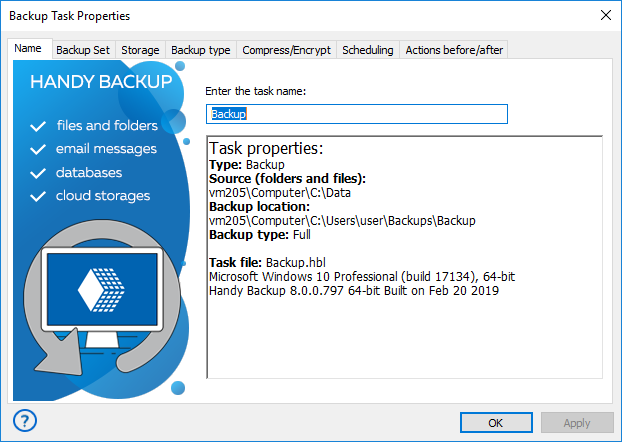 Handy Backup Task Properties