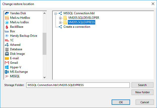 Changing restore locations for the MSSQL plug-in