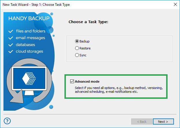 Step 1 - Creating a backup task in advanced mode