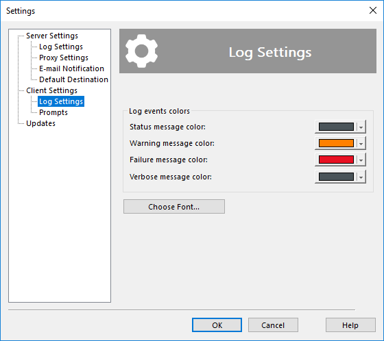 Log settings of a GUI Client