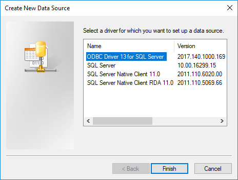 Creating new ODBC data source
