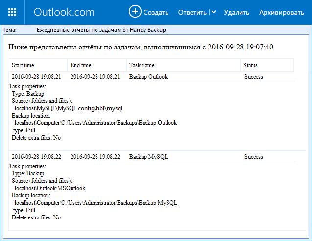 Отправка отчётов о резервном копировании на электронную почту
