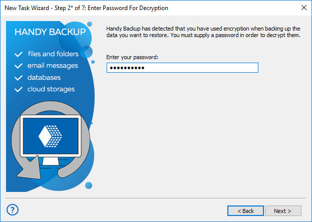 Step 2 * - enter the password for the encrypted backup in advanced mode