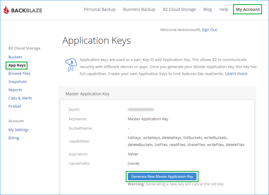 Creating a new application master key in Backblaze