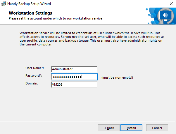 Workstation installation settings