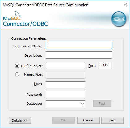 ODBC Data Source Configuration dialog for MySQL connector