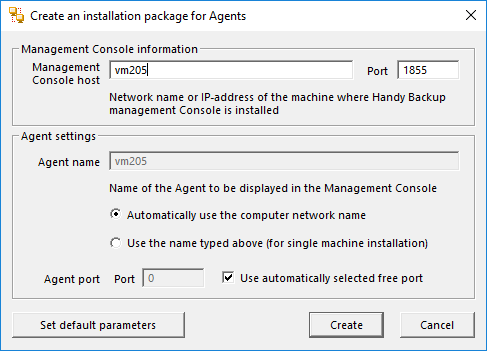 Configuring a new Network Agent