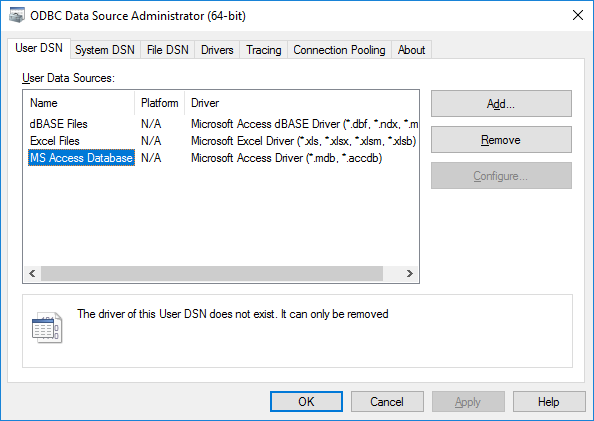 ODBC Database Source Administrator dialog