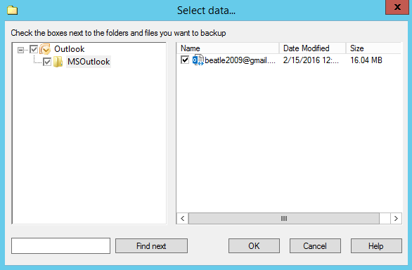 Select Outlook data
