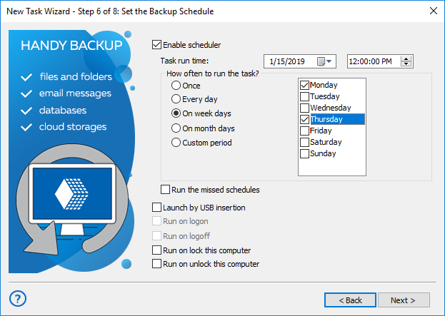 Step 6 - setting up a scheduled backup task in advanced mode