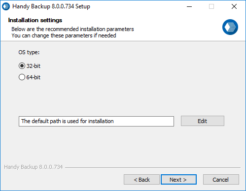 Installing a 32-bit Version Handy Backup