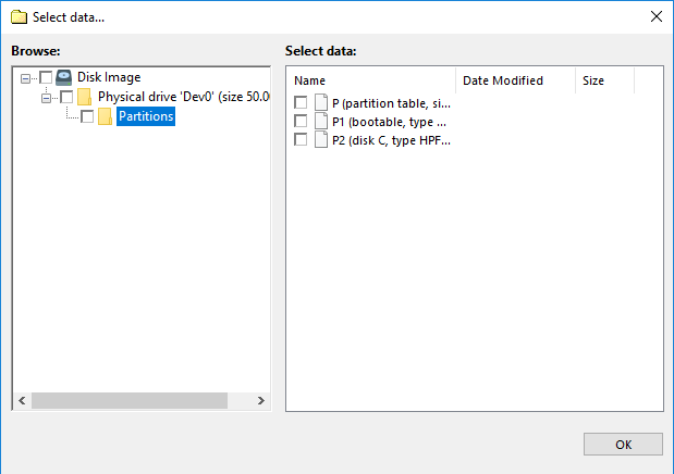 Selecting data of the Disk Image plug-in