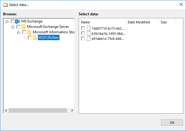 Microsoft Exchange Server Backup Dialog for Selecting Data