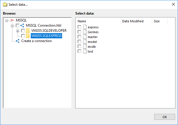 Selecting data of the MSSQL plug-in