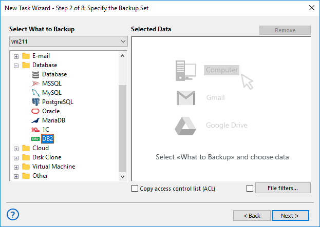 Specify the backup set - select DB2