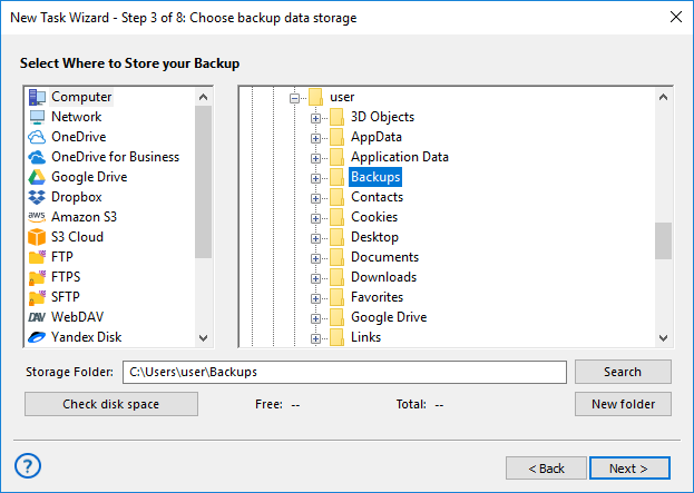 Selecting the Computer plug-in as storage destination