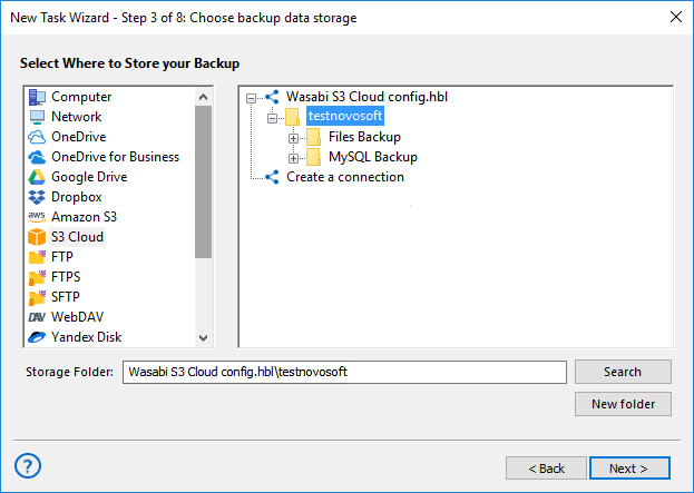 Using the S3 Storage as Backup Destination