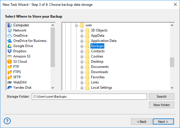 Select a USB device for backup