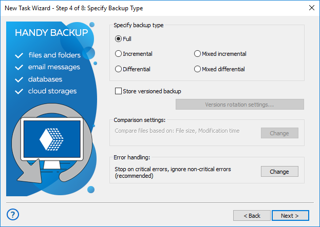 Step 4 - setting up backup in advanced mode