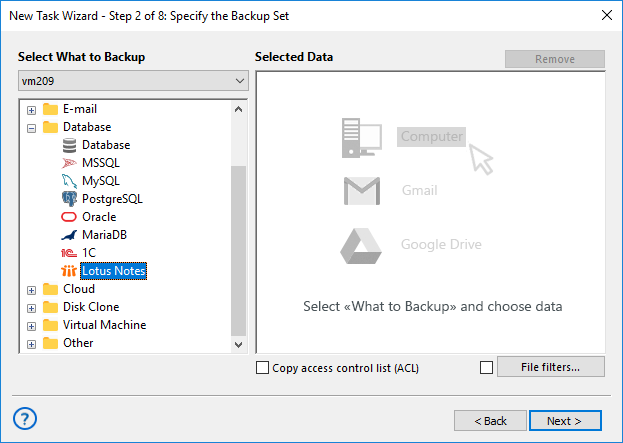 Select Lotus Notes for Backup