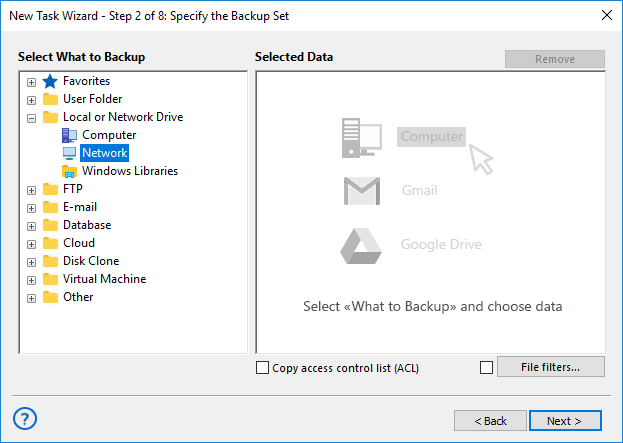 Select Network for Backup