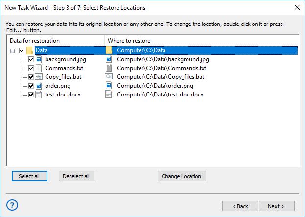 Selecting restore locations for backups made with the Computer plug-in
