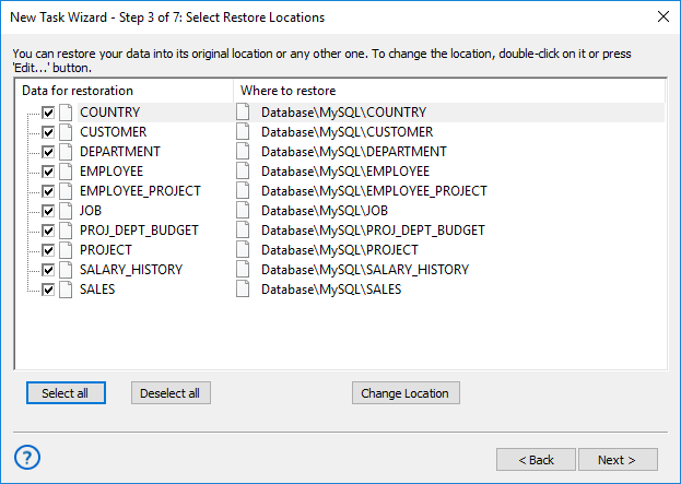 Selecting restore locations for backups made with the Database plug-in