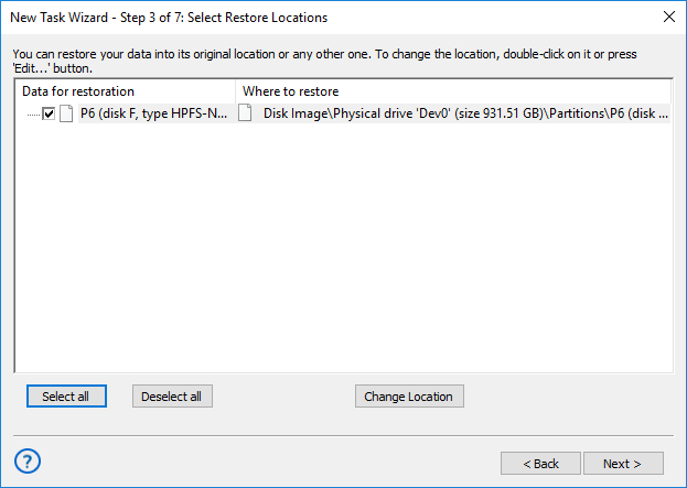 Selecting restore locations for backups made with the Disk Image plug-in