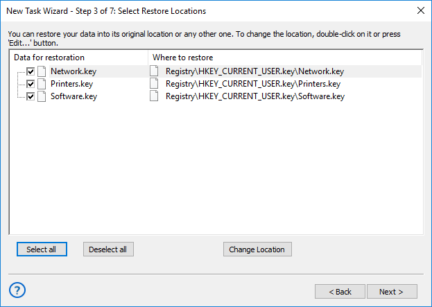 Selecting restore locations for backups made with the Registry plug-in