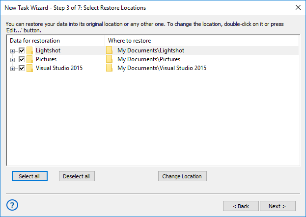 Selecting restore locations for backups made with the User Folders plug-in