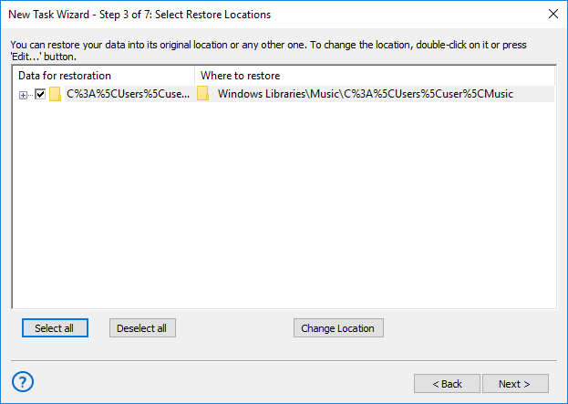 Selecting restore locations for backups made with the Windows Libraries plug-in
