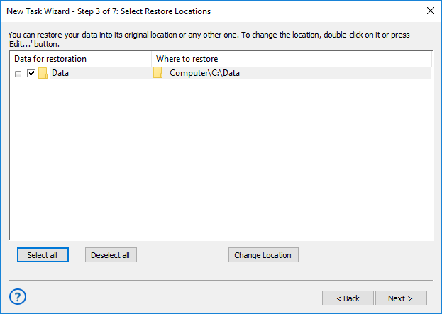 Step 3 - choosing a location for restoring backups in advanced mode