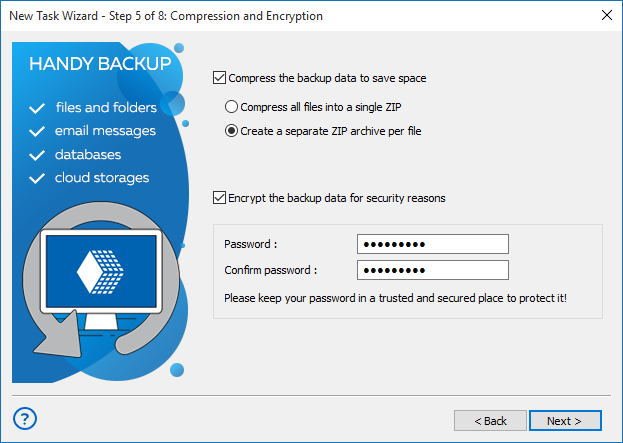 Step 5 - Compress and encrypt backups in advanced mode